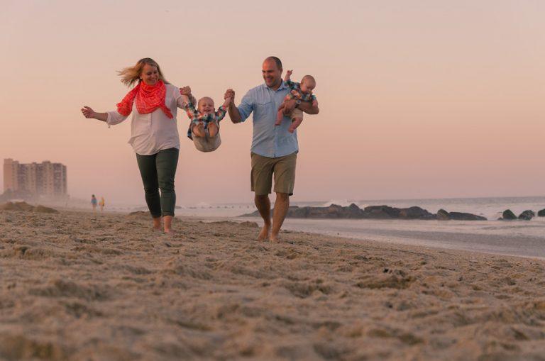 nj photographer, family portrait, beach, sunset