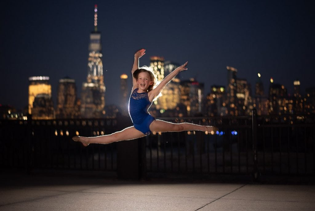 Dancer portrait in front of the NYC skyline
